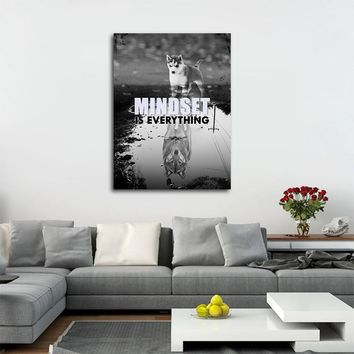 Mindset Is Everything Canvas Wall Art, Motivational Decor, Husky, Wolf