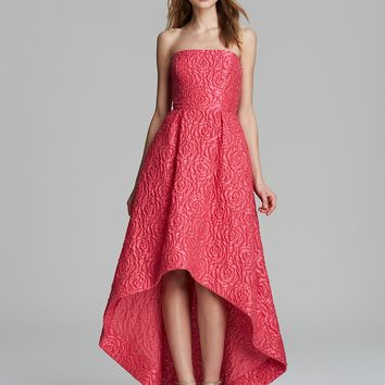ML Monique Lhuillier Gown - Strapless Jacquard High/Low