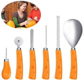 Set of 6PCS Stainless Steel High Quality Durable Carving Kit Cuttings Carving Tools for Fruit Halloween Pumpkin Vegetable
