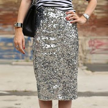 4c51680dd2 Women Shiny Sequin Skirt Sexy High Waist Glitter Silver Gold Str