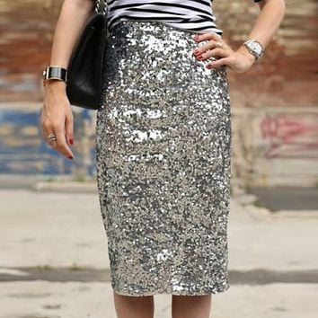Women Shiny Sequin Skirt Sexy High Waist Glitter Silver Gold Stretchy Pencil Skirts Ladies Knee Length Party Club Midi Skirt