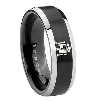8mm Star Wars R2D2 Beveled Edges Brush Black 2 Tone Tungsten Carbide Bands Ring
