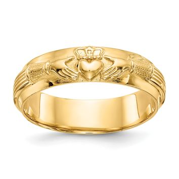 14k Yellow Gold Mens Claddagh Band Ring