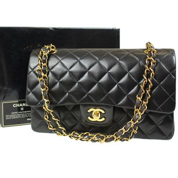 CHANEL Quilted Matelasse Chain Shoulder Bag Black Leather Vintage Auth #D506 M