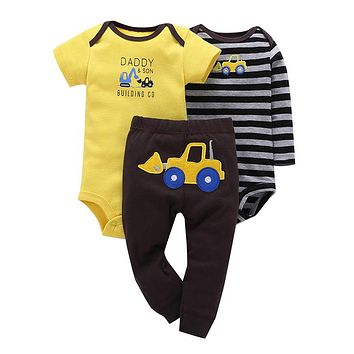 Baby Boy 3 Pieces Set Yellow Cartoon Short Sleeve Climbing Striped Full Sleeve Romper Pants Baby boy girl Clothes