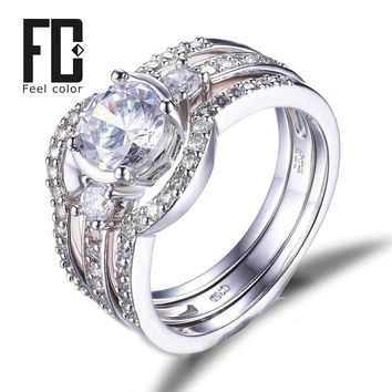 51 Stones 3 Pieces Of Band Ring Genuine 925 Sterling Silver Ring Sets Prongs Round Cut Cubic Zirconia Setting Engagement Wedding
