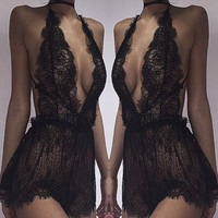 V-Neck Halter Hollow Out Romper Jumpsuit Lingerie Sleepwear