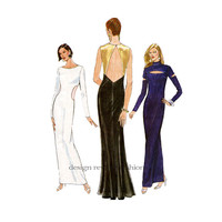 90s Formal EVENING GOWN PATTERN Sexy Fitted Cut Out Evening Dress Vogue 9568 Bust 30.5 31.5 32.5 Size 6 8 10 UNCuT Womens Sewing Patterns