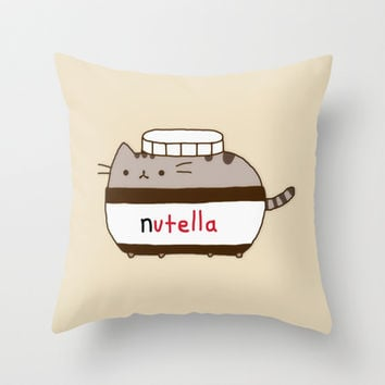 Nutella Cat Throw Pillow by Marvin Fly | Society6