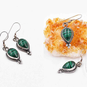 Vintage Navajo Sterling Silver & Malachite Pierced Earrings, Katherine Pino, Green, Rope, Bead, Dangle, Teardrop, Gorgeous! #c205
