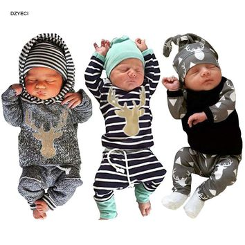 My First Christmas For Babies Boy Set Clothes New Year Born Striped Deer T-shirt+Pant+Hat Outfit Suit Coming Home Kid Costume