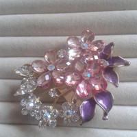 purple and pink  crystal flower rhinestone goldtone  brooch  pin