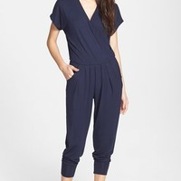 Women's Loveappella Short Sleeve Wrap Top Jumpsuit,