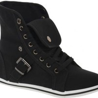 Black High Top Fold Over Sneakers With Buckle Detail