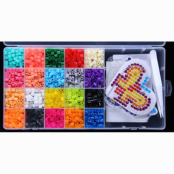 20 Color Perler Beads 2000pcs box set 5mm Hama Beads EVA Fuse beads for Children Education jigsaw puzzle Toys