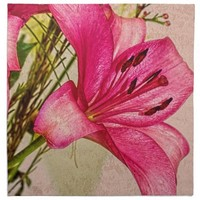 Pink Lilies Petals with Brown Twigs Cloth Napkins