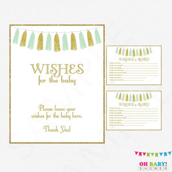 Wishes for Baby, Mint Gold Baby Shower, Mint Baby Shower, Wishes for Baby Sign, Wishes for Baby Cards, Well Wishes, Invitation Insert, TASMG