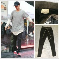 Dmart7dealhiphop pants side zippers casual fear god jogger pants Elastic Stretch trous