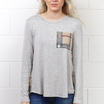 Plaid's Got Your Back Pocket Long Sleeve {H. Grey}