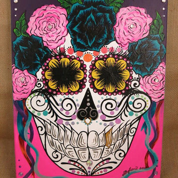 "11x16"" Embellished Sugar Skull Painting"