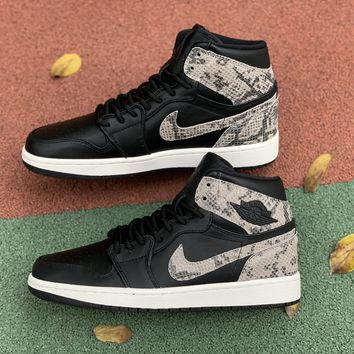 [Free Shipping ]Air Jordan   1 Retro High Snakeskin  New Black Sneakers AH7389-014 Basketball Shoes