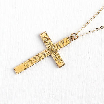 Vintage Cross Necklace - 12k Yellow Gold Filled Cross Pendant - Engraved Flower Design Large Religous Charm Mid Century Floral 50s Jewelry