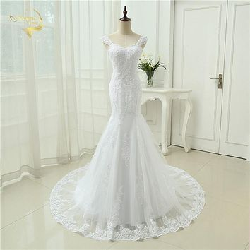 Sexy Vestidos De Novia Mermaid Robe De Mariage Tulle With Lace Detachable Straps Long Wedding Dresses 2017 OW 3050 Bridal Gown