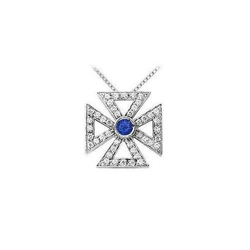 Sapphire and Diamond Maltese Cross Pendant : 14K White Gold - 0.75 CT TGW