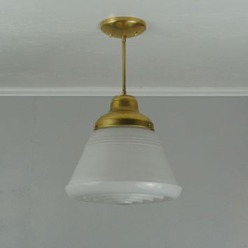 Vintage Ribbed Drum Brass Pendant Light
