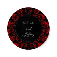 Gothic Red Roses Victorian Wedding Classic Round Sticker