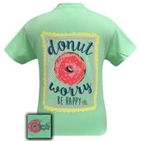 Girlie Girl Originals Donut Worry Be Happy Mint Green T-Shirt