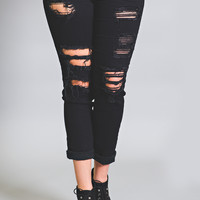 Kan Can Distressed Skinny Jeans-Plus Size