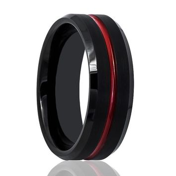 Aydins Tungsten Mens Wedding Band Black Brushed w/ Red Groove 8mm Tungsten Carbide Ring