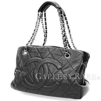 CHANEL Chain Shoulder Bag Caviar Skin Matelasse CC Logo Italy Authentic 4356042