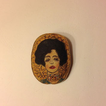 Hand painted brooch Textile brooch Gustav Klimt Woman portrait Gift brooch Fabric brooch Art brooch Stylish brooch textile jewelry