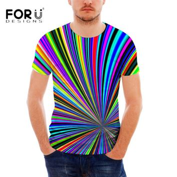 FORUDESIGNS Brand T Shirt for Men Novelty Striped Print Male Leisure Tee Shirt Summer Short Sleeved Cotton Bodybuilding Top Tees