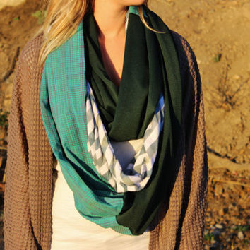 Extra Long Patchwork Infinity Scarf, Deep Emerald Green, Classy Plaid with Thin Red Lines, Grey Ombre Stripes - Women's Chunky Loop Scarf
