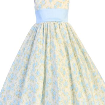 Light Blue Floral Print Cotton Spring Dress with Blue Poly Shantung Sash & Trim (Baby 3 months - Girls Size 10)
