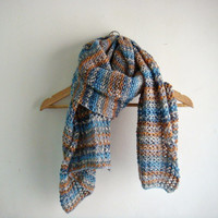 Hand knit scarf multicolor unisex scarf