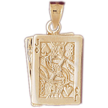 14K GOLD GAMBLING CHARM - PLAYING CARDS #5447