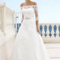 Strapless Wedding Dress with Half Sleeves Lace Jacket Custom Size 0 2 4 6 8 10