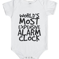 World's Most Expensive Alarm Clock-Unisex White Baby Onesuit 00