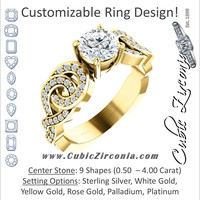 Cubic Zirconia Engagement Ring- The Myra (Customizable Split-Band Knots)
