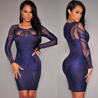 Royal Blue Lace  Long Sleeves Bodycon Dress