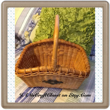 Retangle Vintage Natural Woven Gathering Basket-Country Decor-Home Decor-Gift-Storage-Centerpiece-Table Decor-Kitchen Decor-Bathroom Decor