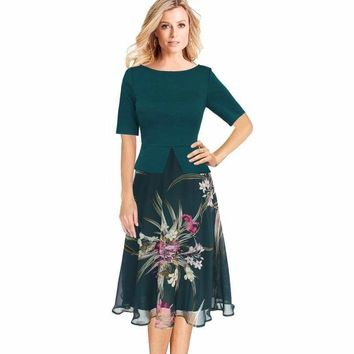 Chiffon Floral Print  Tunic Work Office Wear Fit and Flare A-Line Midi Dress