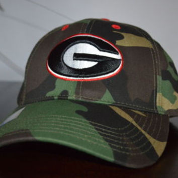 New UGA Camo Cap Georgia Bulldogs Camoflauge Collegiate Headwear One Size