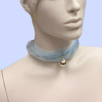 Kawaii Cat Collar Choker, Kitten Play Collar, Baby Blue Fur Kitty Choker, Furry Pastel Chocker, Fluffy Bell Choker, Neko Cosplay, Kitty Bell