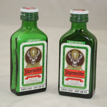 Salt & Pepper Shakers Upcycled from Jagermeister Glass Mini Liquir Bottles