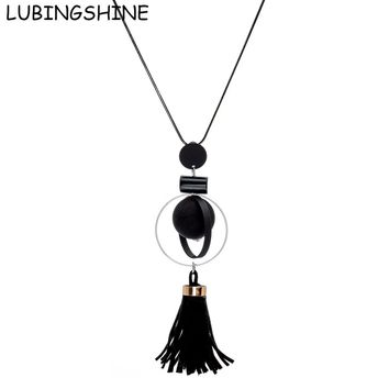 LUBINGSHINE Wooden Beads Long Necklace Retro Jewellery Bohemia Vintage Long Round Black Tassel Necklaces Pendants Woman